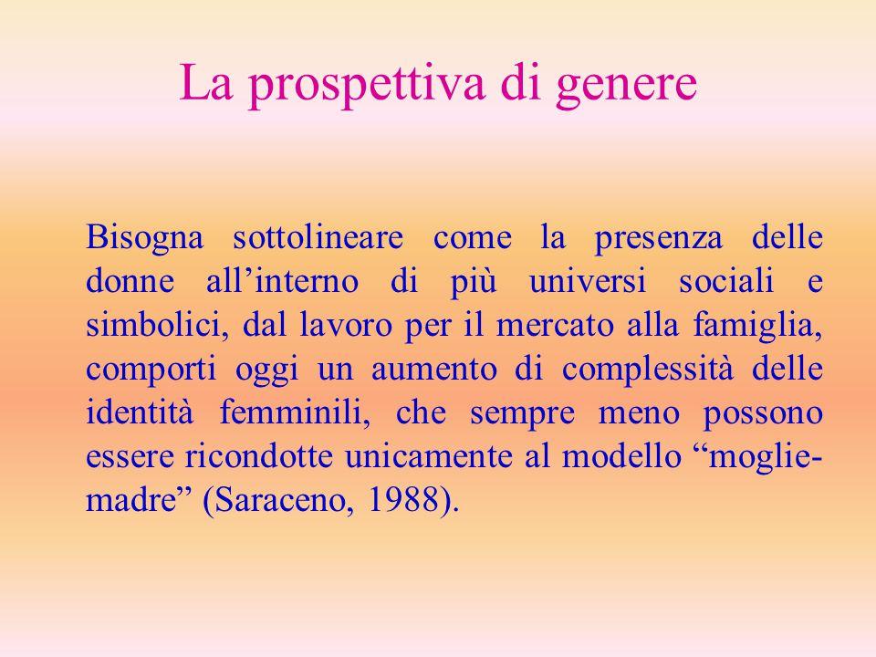 La prospettiva di genere Bisogna sottolineare come la presenza delle donne all'interno di più universi sociali e simbolici, dal lavoro per il mercato