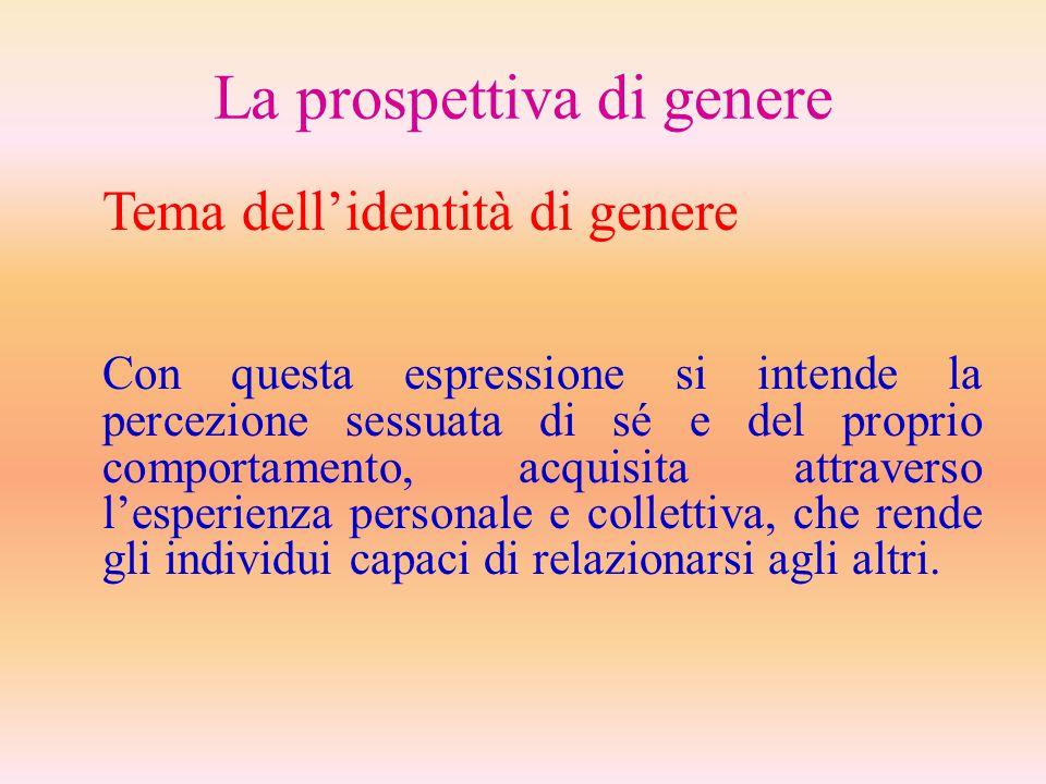 La prospettiva di genere Tema dell'identità di genere Con questa espressione si intende la percezione sessuata di sé e del proprio comportamento, acqu