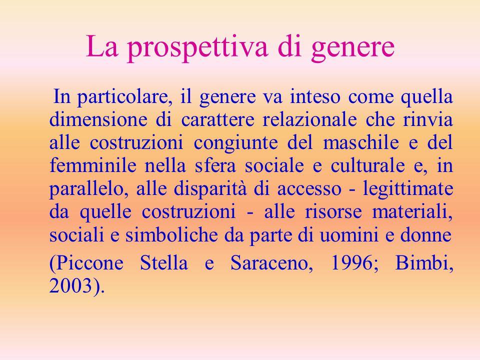La prospettiva di genere In particolare, il genere va inteso come quella dimensione di carattere relazionale che rinvia alle costruzioni congiunte del