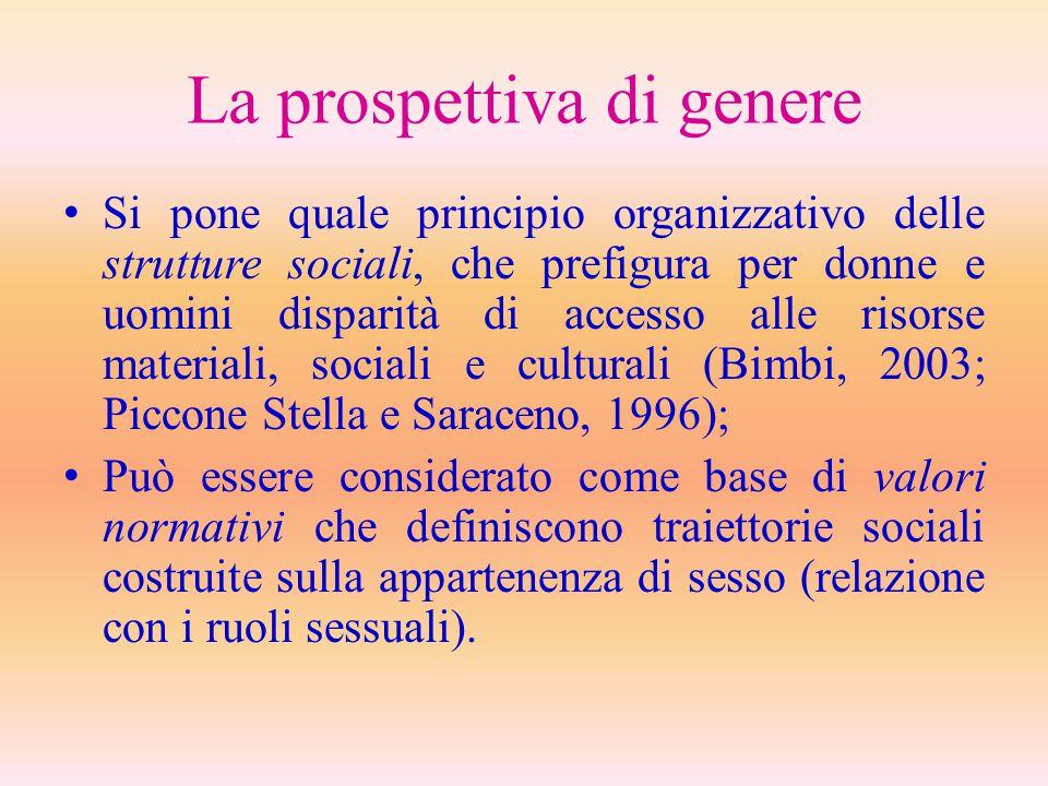 La prospettiva di genere Si pone quale principio organizzativo delle strutture sociali, che prefigura per donne e uomini disparità di accesso alle ris