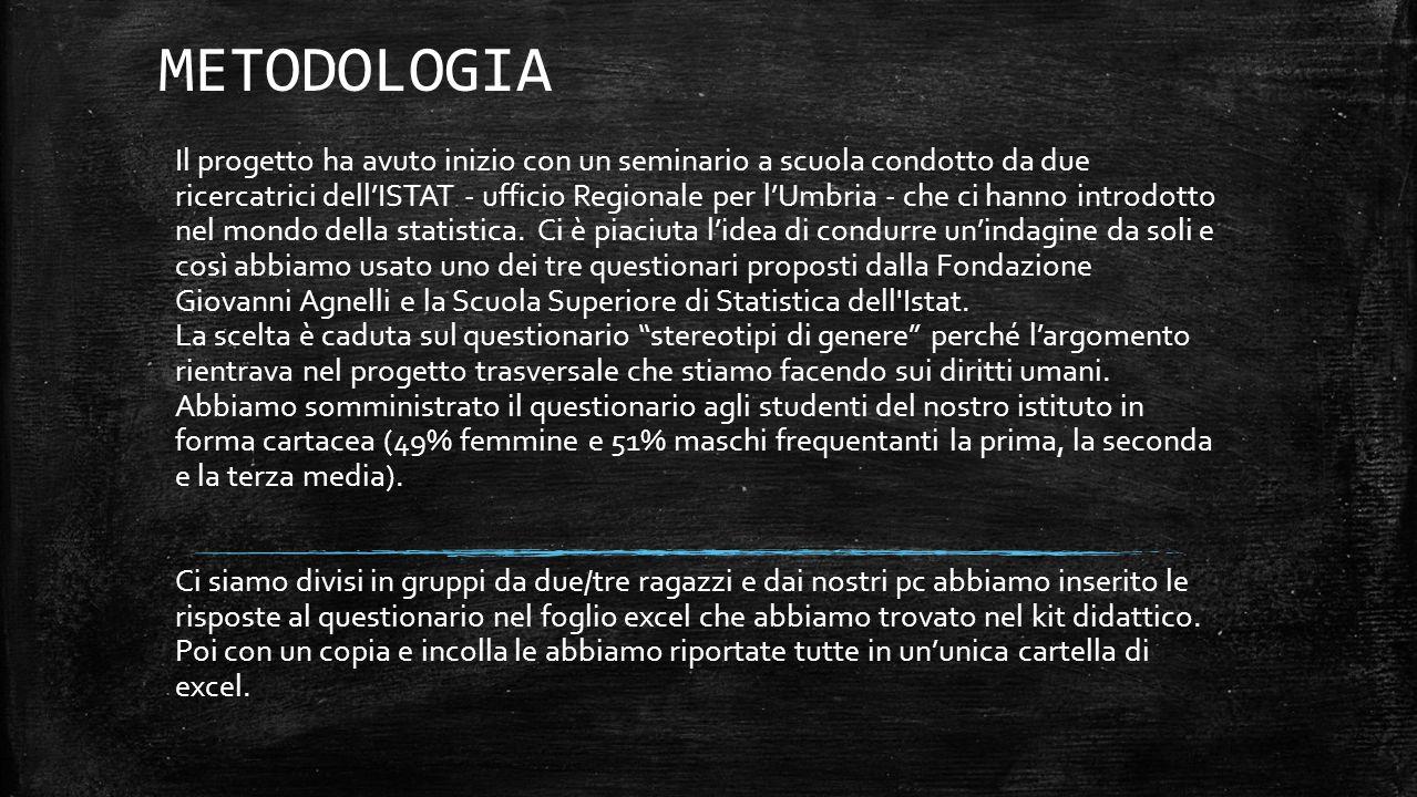 METODOLOGIA Il progetto ha avuto inizio con un seminario a scuola condotto da due ricercatrici dell'ISTAT - ufficio Regionale per l'Umbria - che ci hanno introdotto nel mondo della statistica.