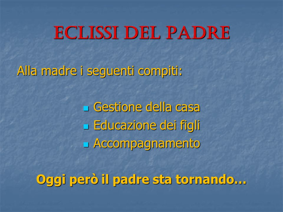 Eclissi del padre Alla madre i seguenti compiti: Gestione della casa Gestione della casa Educazione dei figli Educazione dei figli Accompagnamento Acc