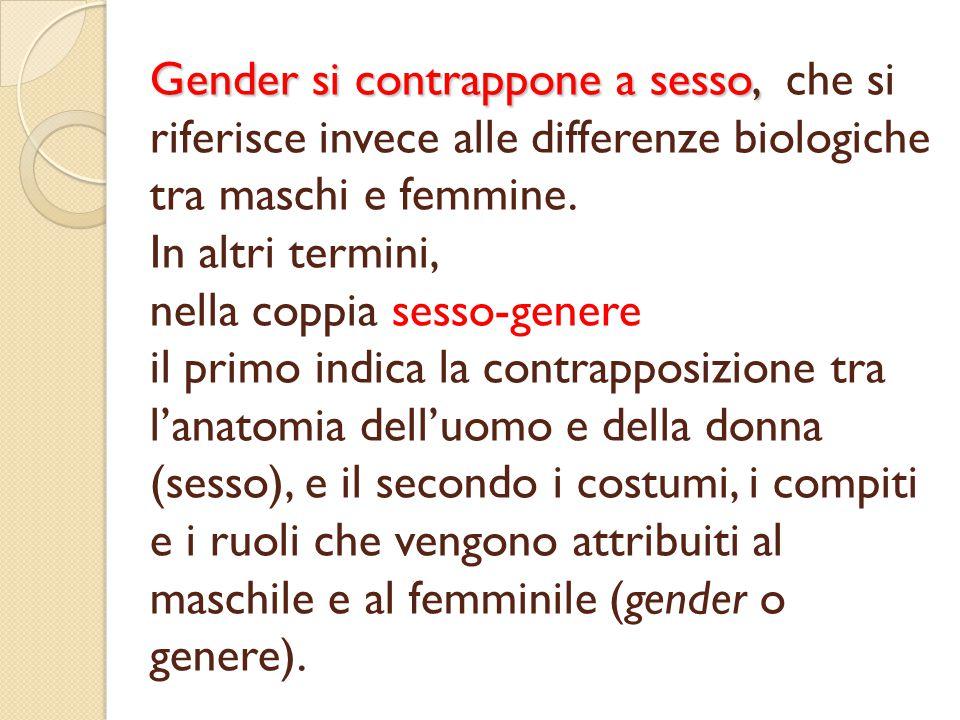 Gender si contrappone a sesso, Gender si contrappone a sesso, che si riferisce invece alle differenze biologiche tra maschi e femmine.