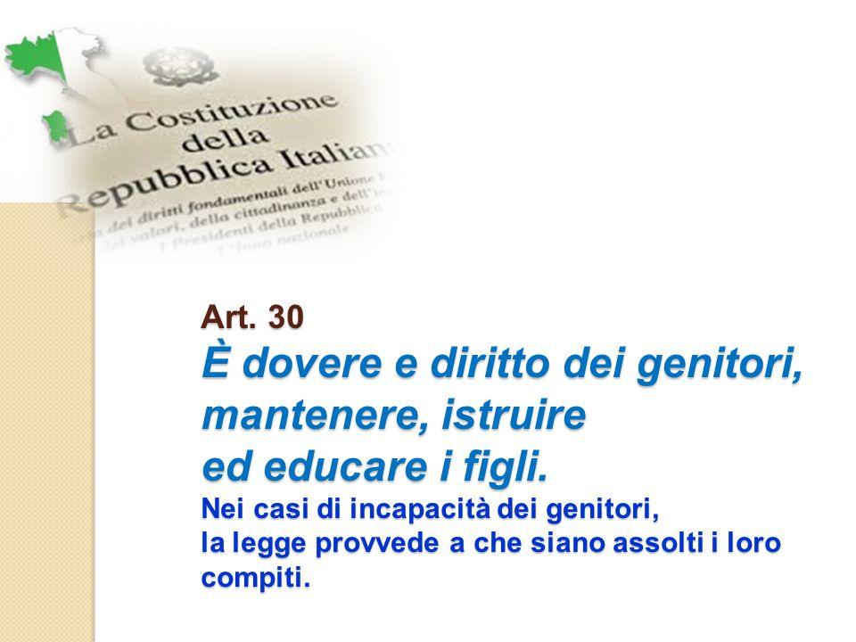 Art.30 È dovere e diritto dei genitori, mantenere, istruire ed educare i figli.