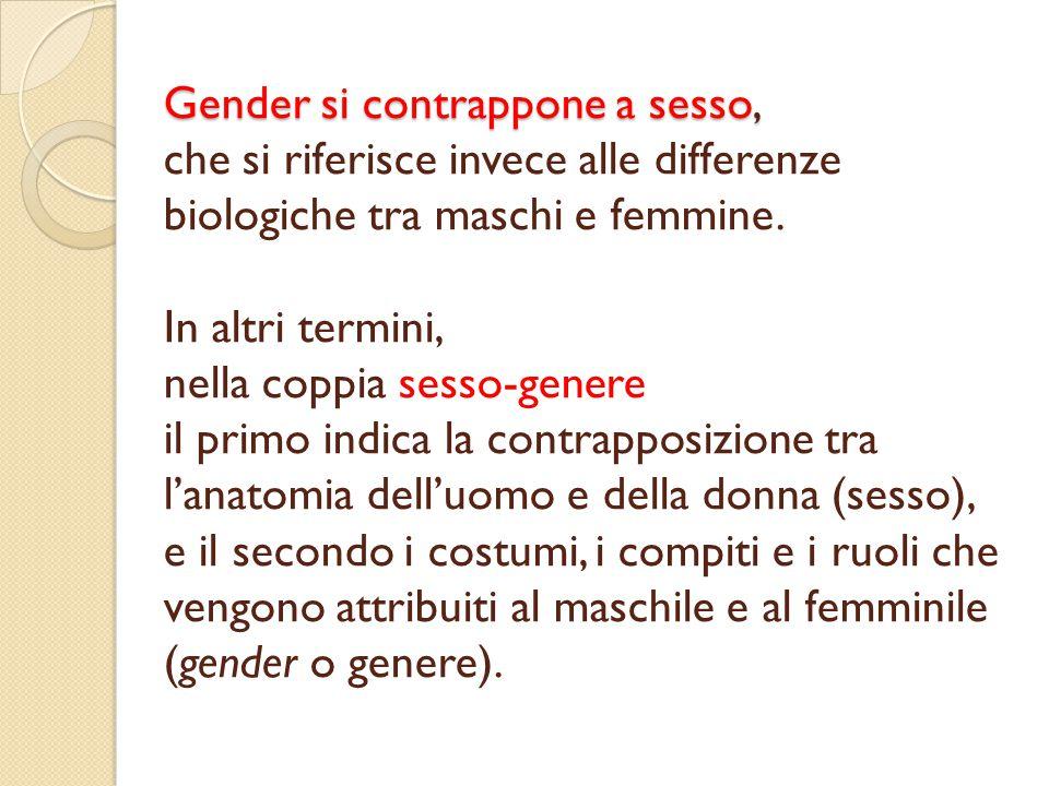 Gender si contrappone a sesso, Gender si contrappone a sesso, che si riferisce invece alle differenze biologiche tra maschi e femmine. In altri termin