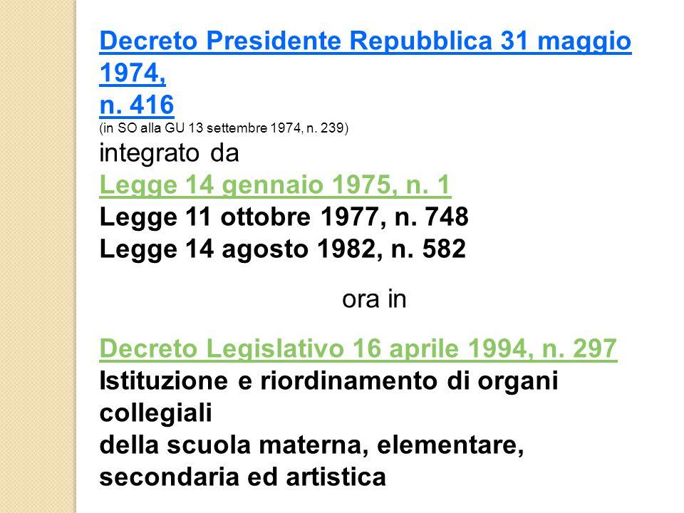 Decreto Presidente Repubblica 31 maggio 1974, n. 416 (in SO alla GU 13 settembre 1974, n. 239) integrato da Legge 14 gennaio 1975, n. 1 Legge 11 ottob