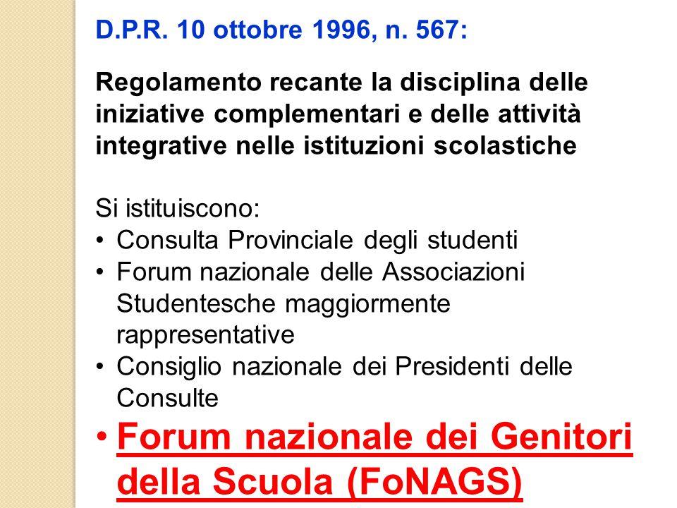 D.P.R. 10 ottobre 1996, n. 567: Regolamento recante la disciplina delle iniziative complementari e delle attività integrative nelle istituzioni scolas