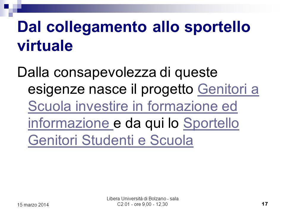 Libera Università di Bolzano - sala C2.01 - ore 9,00 - 12,30 18 15 marzo 2014 Lo Sportello