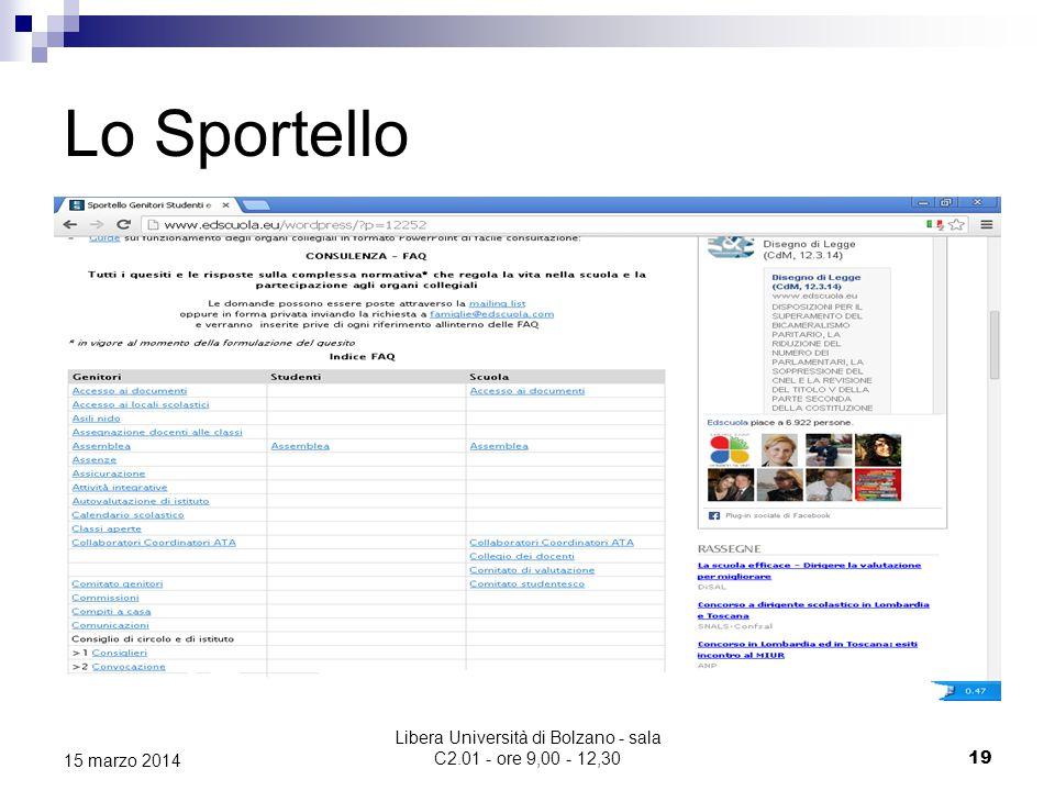 Libera Università di Bolzano - sala C2.01 - ore 9,00 - 12,30 19 15 marzo 2014 Lo Sportello