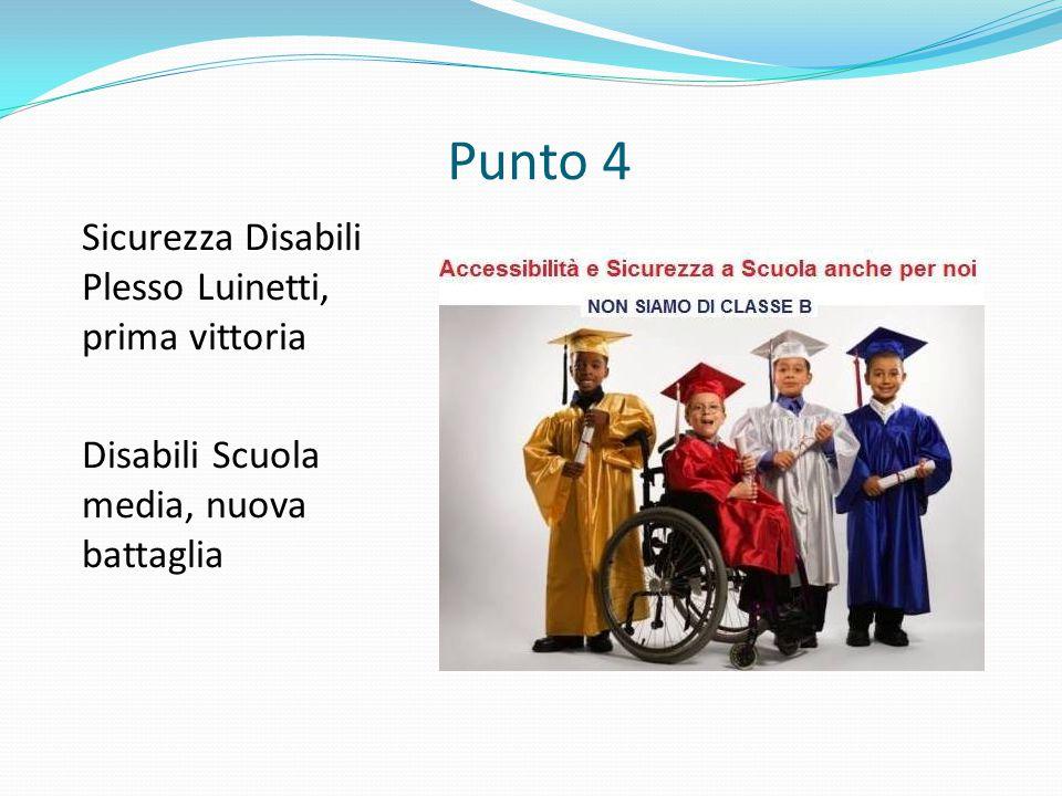 Punto 4 Sicurezza Disabili Plesso Luinetti, prima vittoria Disabili Scuola media, nuova battaglia