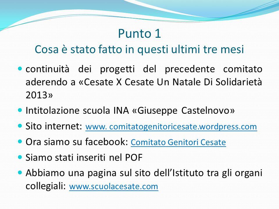 Punto 1 Cosa è stato fatto in questi ultimi tre mesi continuità dei progetti del precedente comitato aderendo a «Cesate X Cesate Un Natale Di Solidari