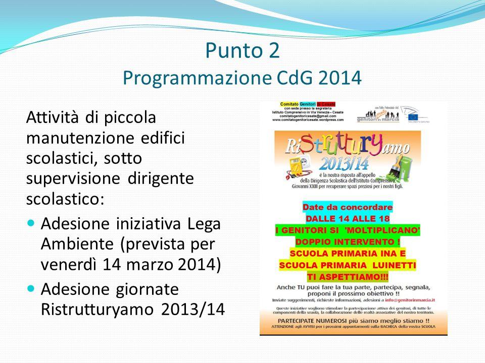 Punto 2 Programmazione CdG 2014 Attività di piccola manutenzione edifici scolastici, sotto supervisione dirigente scolastico: Adesione iniziativa Lega