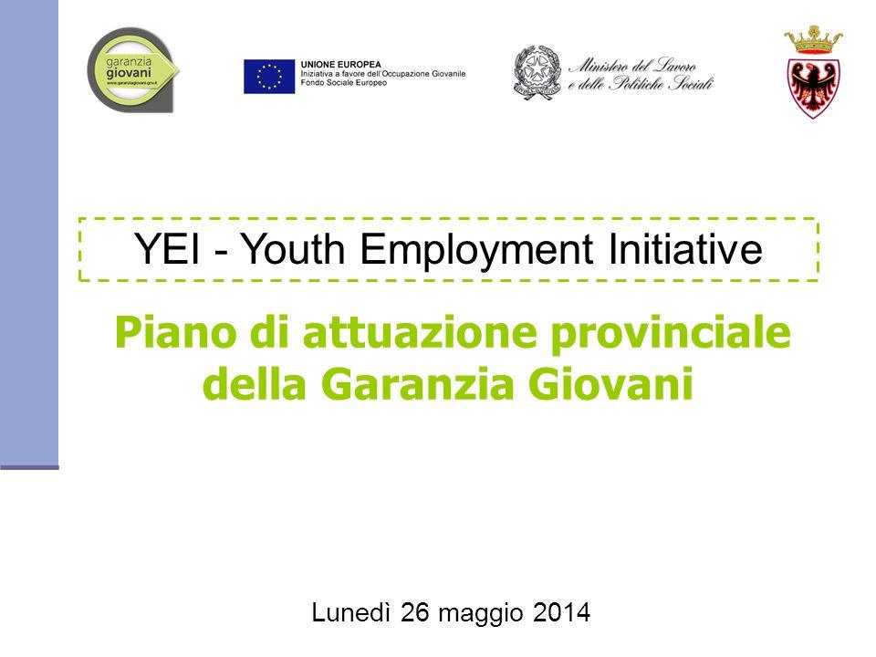 Piano di attuazione provinciale della Garanzia Giovani YEI - Youth Employment Initiative Lunedì 26 maggio 2014
