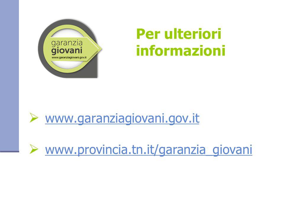 Per ulteriori informazioni  www.garanziagiovani.gov.it www.garanziagiovani.gov.it  www.provincia.tn.it/garanzia_giovani www.provincia.tn.it/garanzia_giovani