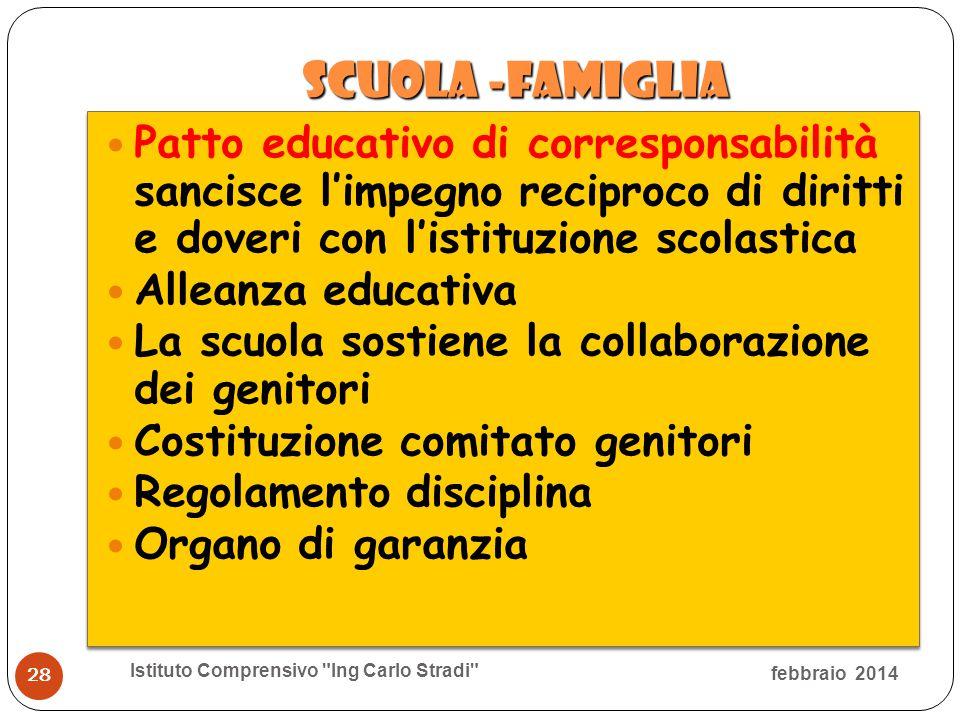 scuola -famiglia scuola -famiglia Patto educativo di corresponsabilità sancisce l'impegno reciproco di diritti e doveri con l'istituzione scolastica A