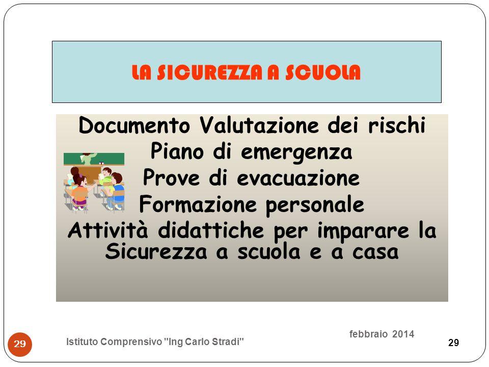 29 Documento Valutazione dei rischi Piano di emergenza Prove di evacuazione Formazione personale Attività didattiche per imparare la Sicurezza a scuol
