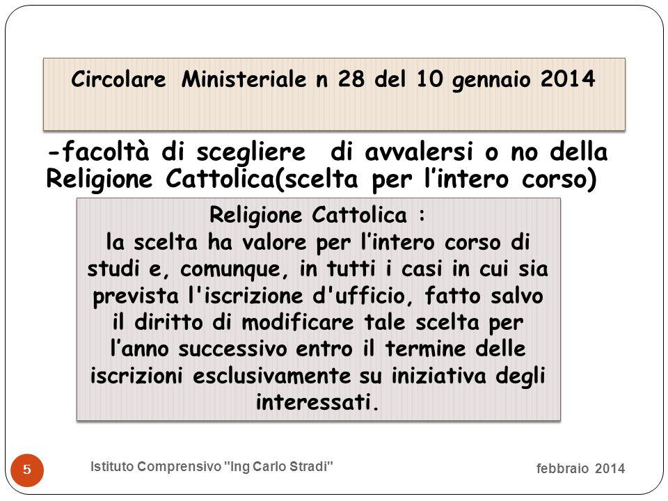 -facoltà di scegliere di avvalersi o no della Religione Cattolica(scelta per l'intero corso)  febbraio 2014 Istituto Comprensivo