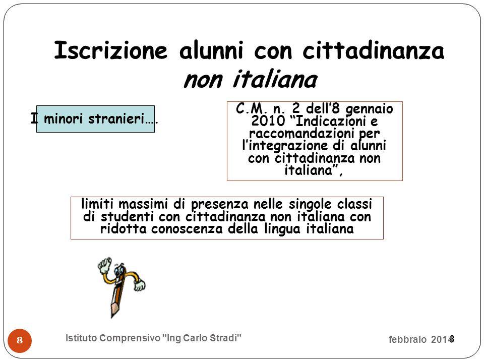 8 Iscrizione alunni con cittadinanza non italiana I minori stranieri…. febbraio 2014 Istituto Comprensivo