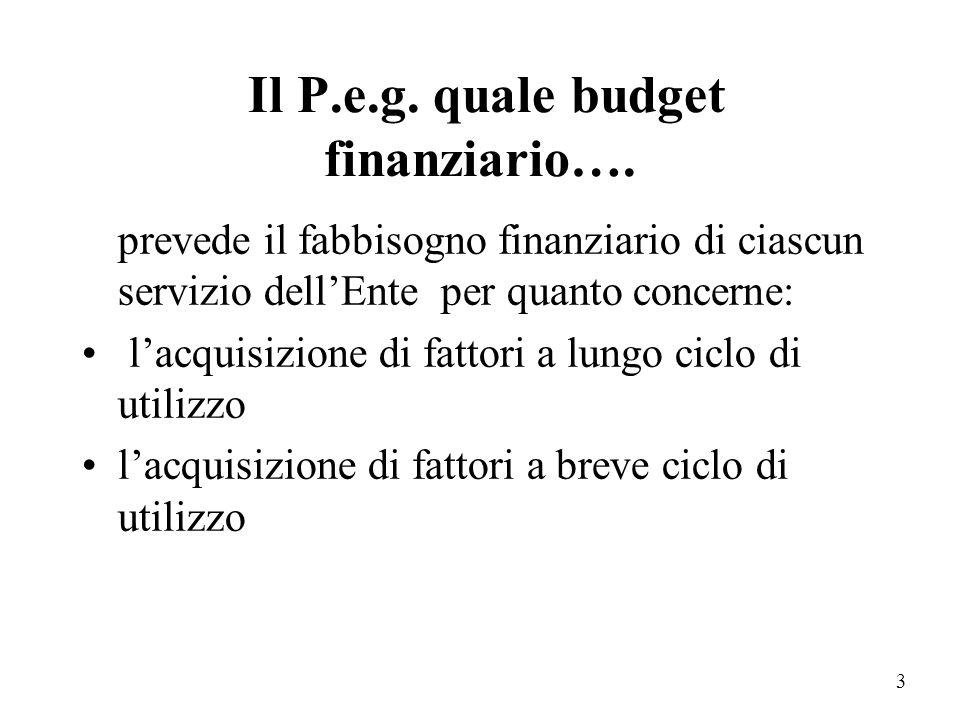 2 Finalità informative del P.e.g.: Budget finanziario Strumento di programmazione di breve termine Strumento gestionale per i responsabili dei servizi