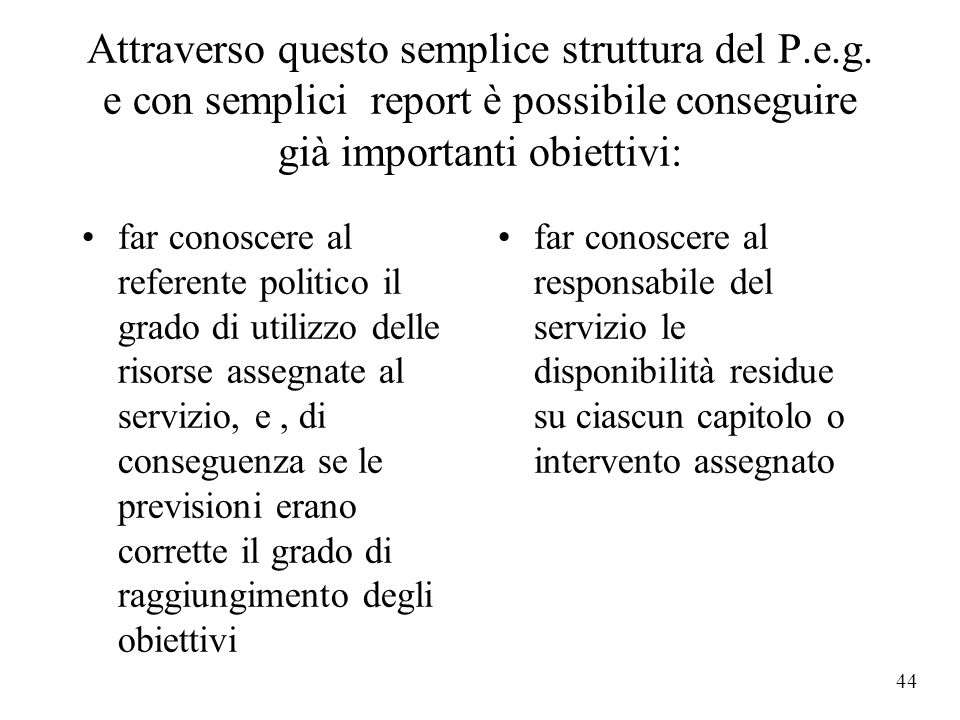 43 Raffrontando le due ipotesi si nota che, a parità di spese fisse del personale, all'aumento degli interessi(colonna verde), la spesa per i servizi(