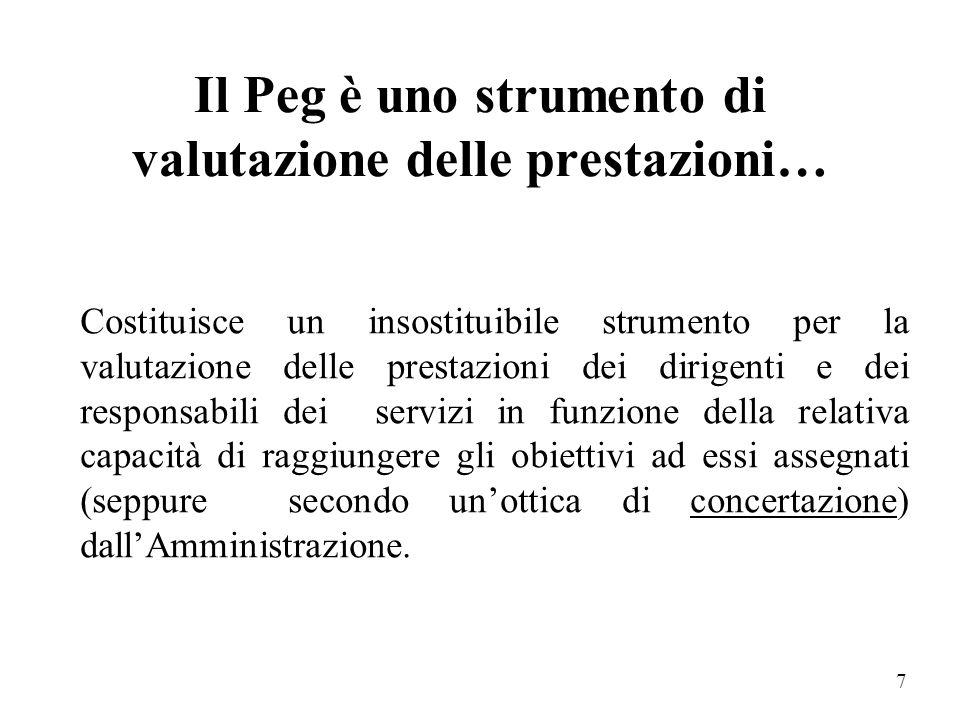 6 Il P.e.g. è uno strumento di controllo.. per i politici che possono controllare in tal modo il conseguimento degli obiettivi per i responsabili dei