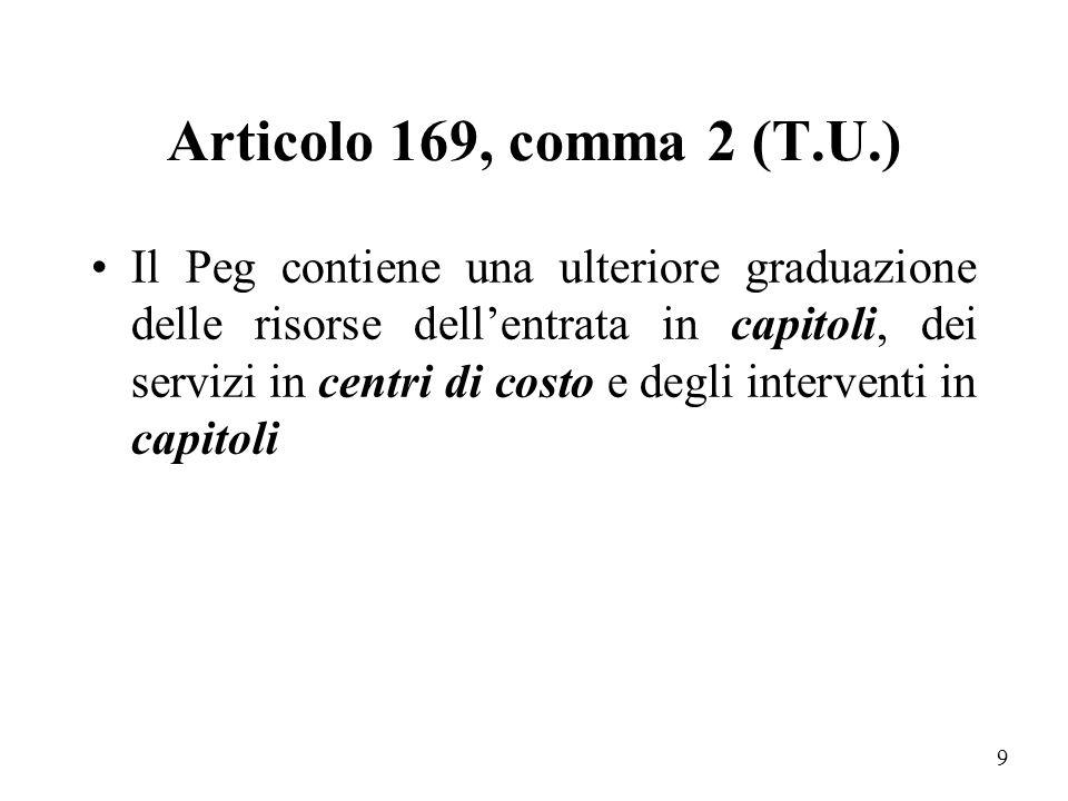 """8 Com'è strutturato un P.e.g.? La legge n.267/200 (T.U) all'art. 169, comma 1, afferma che: """" sulla base del bilancio di previsione annuale deliberato"""