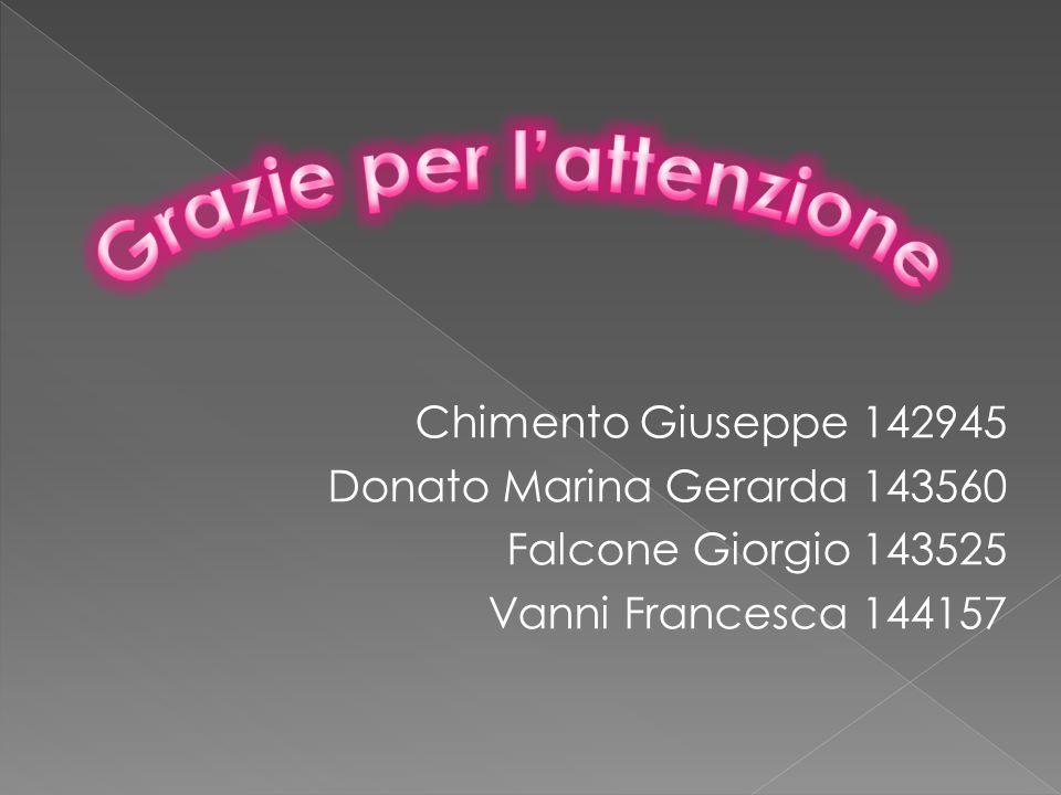 Chimento Giuseppe 142945 Donato Marina Gerarda 143560 Falcone Giorgio 143525 Vanni Francesca 144157