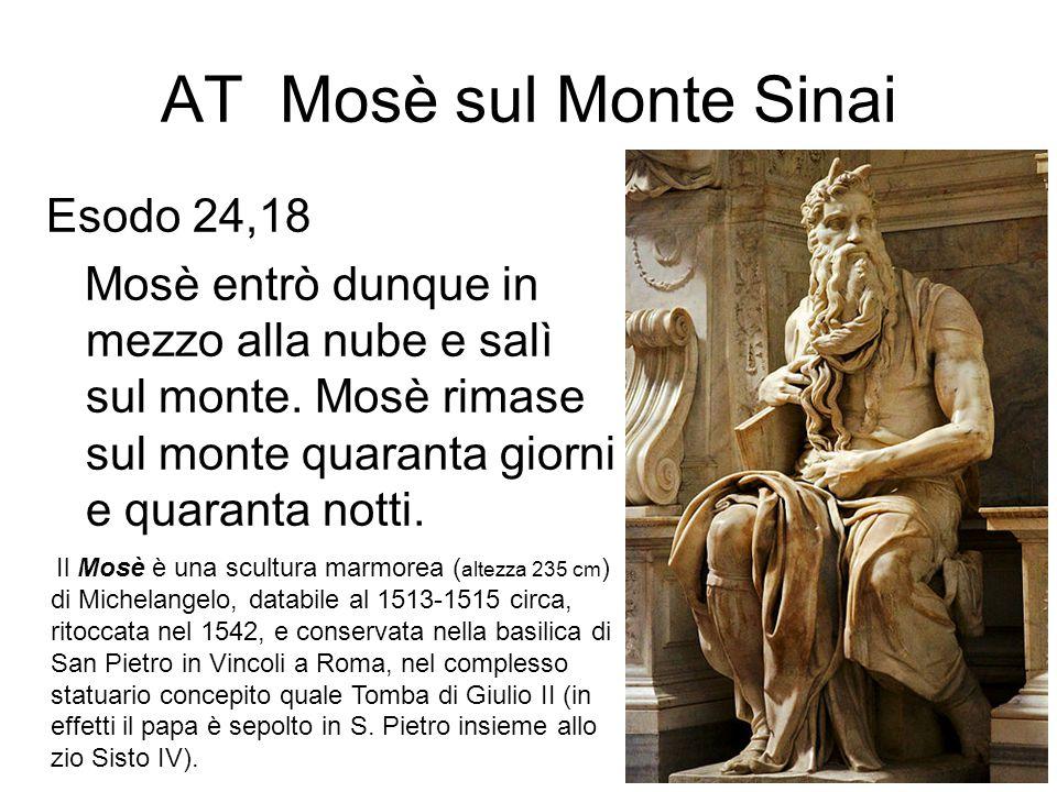 AT Mosè sul Monte Sinai Esodo 24,18 Mosè entrò dunque in mezzo alla nube e salì sul monte. Mosè rimase sul monte quaranta giorni e quaranta notti. Il
