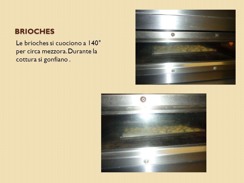 BRIOCHES Le brioches si cuociono a 140° per circa mezzora. Durante la cottura si gonfiano.