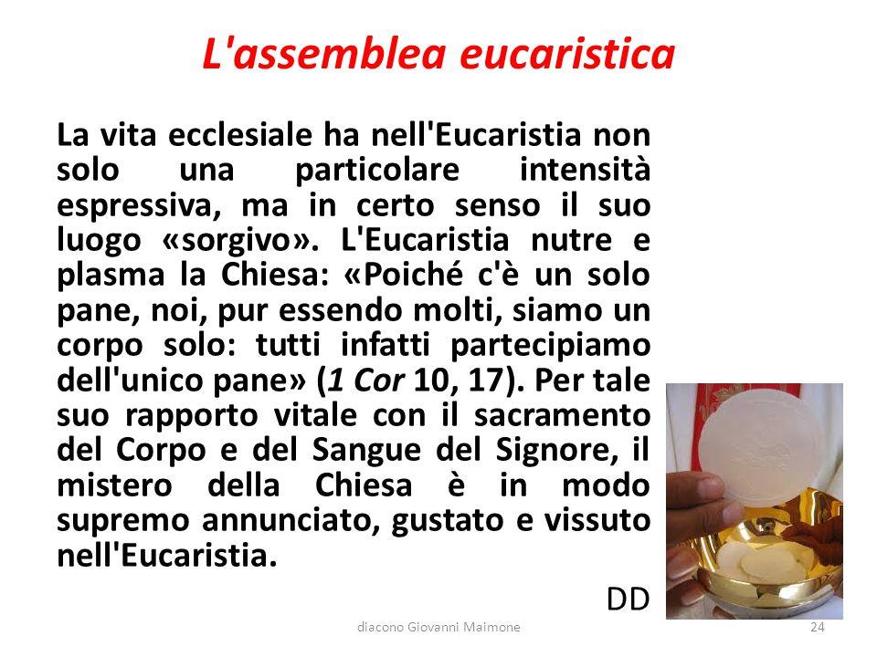 L'assemblea eucaristica La vita ecclesiale ha nell'Eucaristia non solo una particolare intensità espressiva, ma in certo senso il suo luogo «sorgivo».