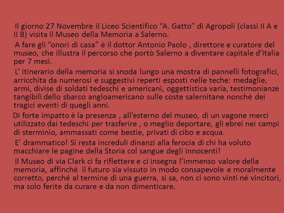 """Il giorno 27 Novembre il Liceo Scientifico """"A. Gatto"""" di Agropoli (classi II A e II B) visita il Museo della Memoria a Salerno. A fare gli """"onori di c"""