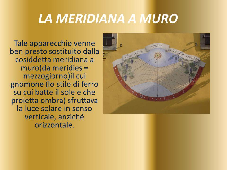 LA MERIDIANA A MURO Tale apparecchio venne ben presto sostituito dalla cosiddetta meridiana a muro(da meridies = mezzogiorno)il cui gnomone (lo stilo