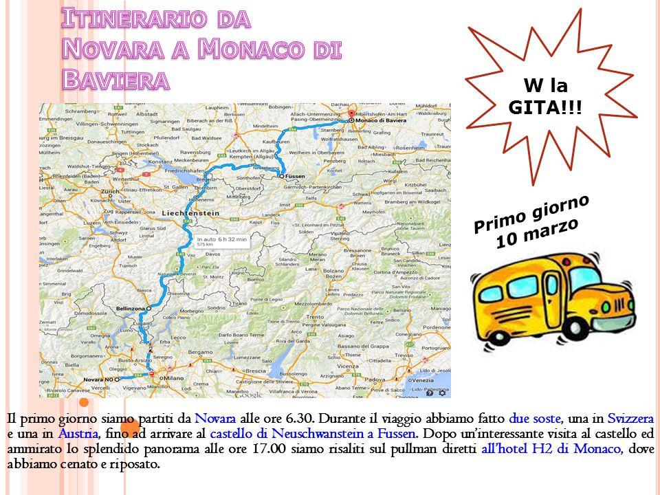 Il primo giorno siamo partiti da Novara alle ore 6.30. Durante il viaggio abbiamo fatto due soste, una in Svizzera e una in Austria, fino ad arrivare