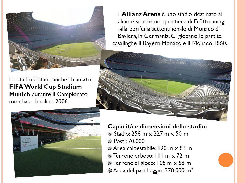 L'Allianz Arena è uno stadio destinato al calcio e situato nel quartiere di Fröttmaning alla periferia settentrionale di Monaco di Baviera, in Germani