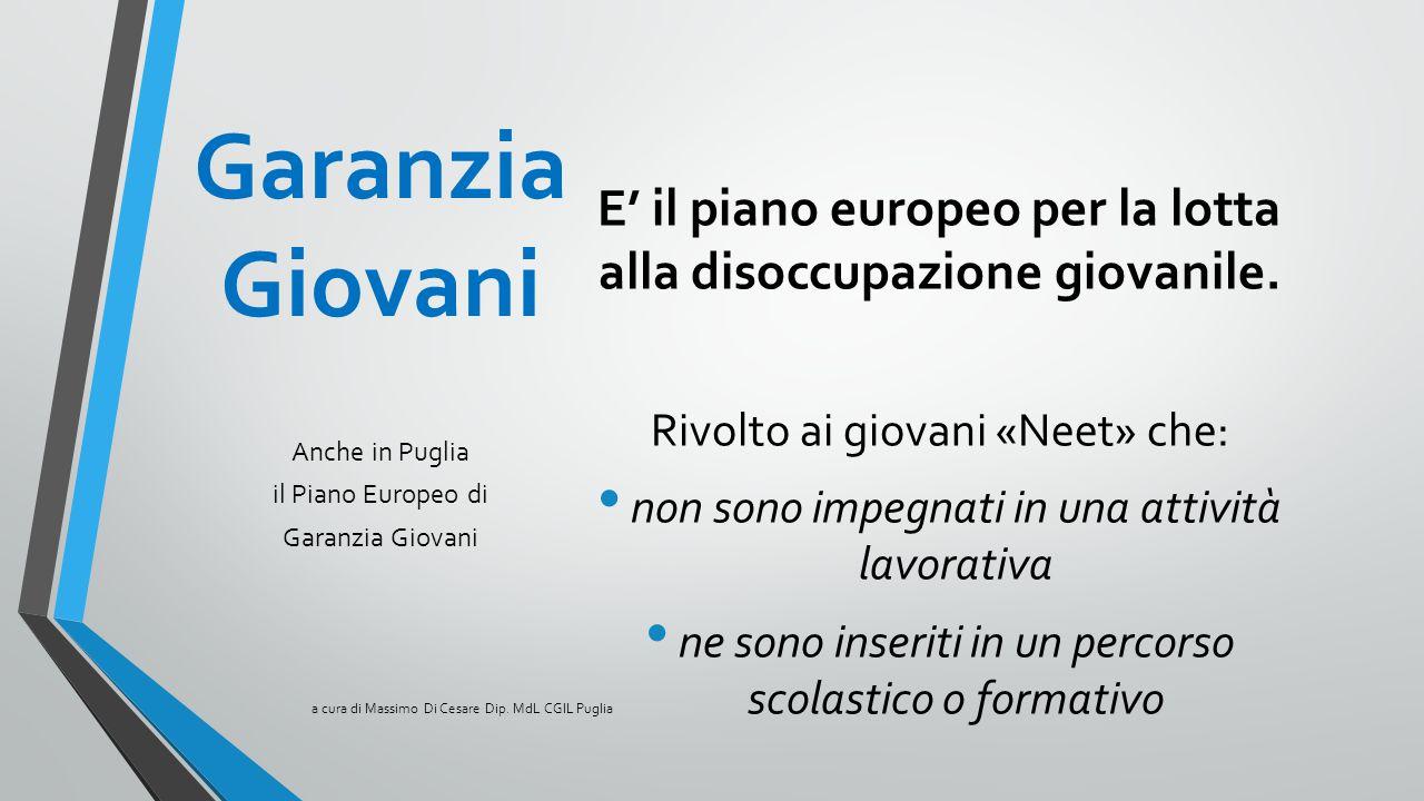 Garanzia Giovani E' il piano europeo per la lotta alla disoccupazione giovanile. Rivolto ai giovani «Neet» che: non sono impegnati in una attività lav