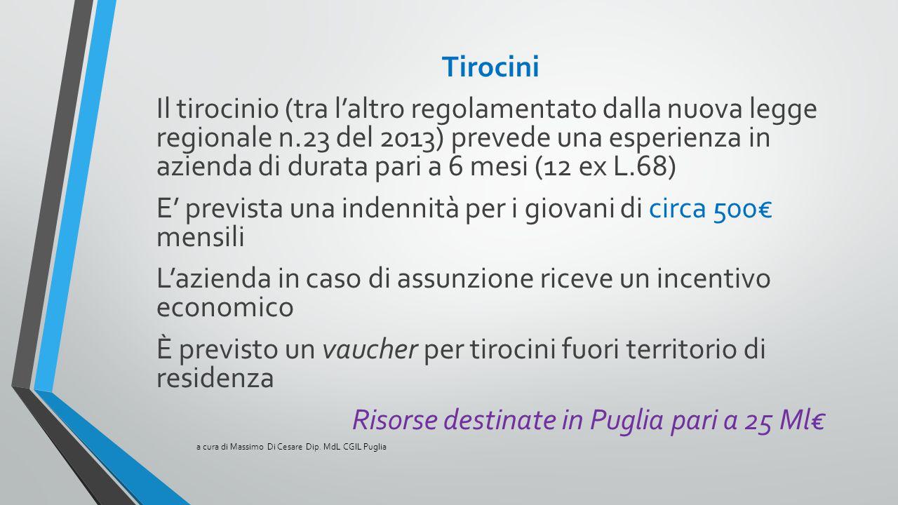 Tirocini Il tirocinio (tra l'altro regolamentato dalla nuova legge regionale n.23 del 2013) prevede una esperienza in azienda di durata pari a 6 mesi