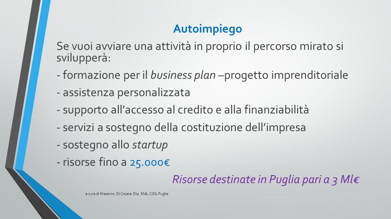 Autoimpiego Se vuoi avviare una attività in proprio il percorso mirato si svilupperà: - formazione per il business plan –progetto imprenditoriale - as
