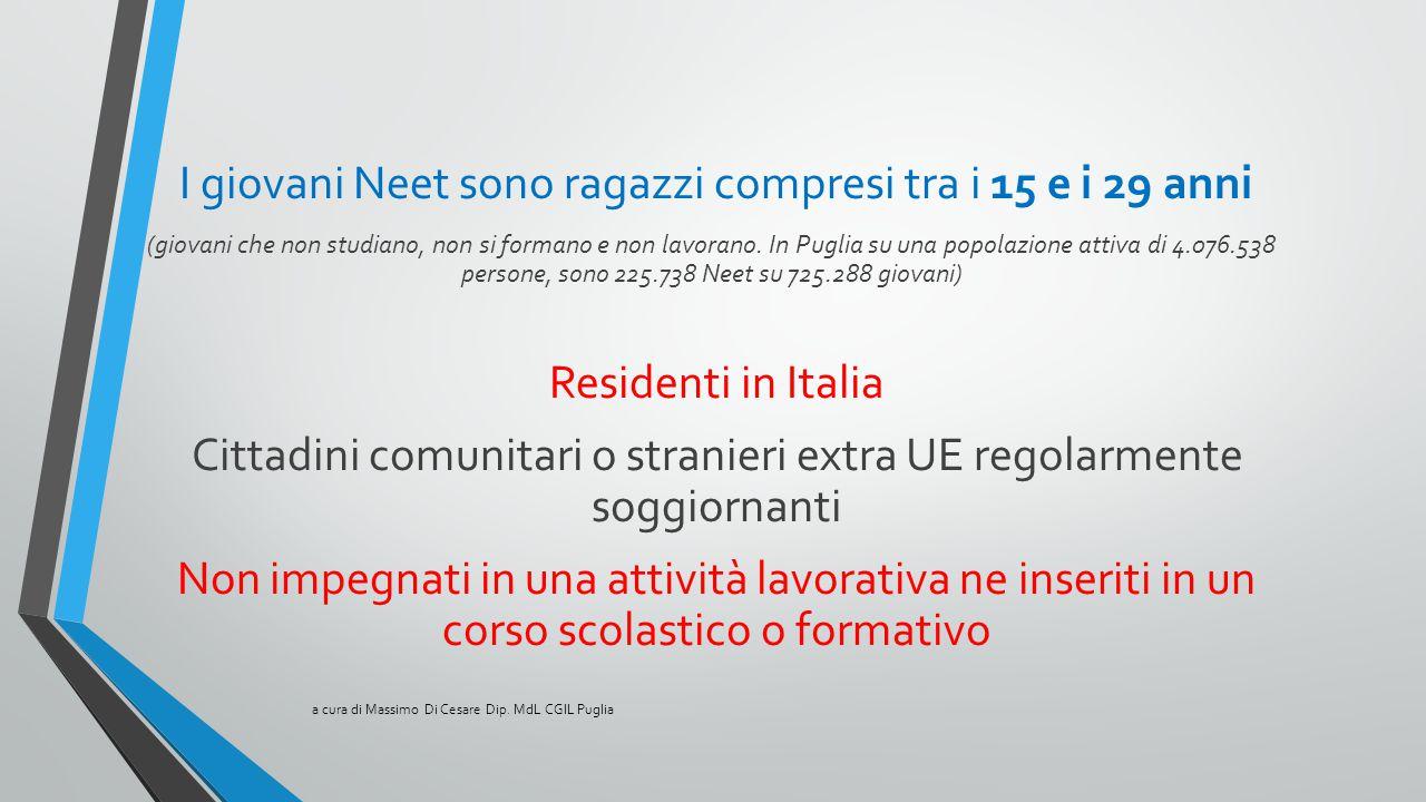 I giovani Neet sono ragazzi compresi tra i 15 e i 29 anni (giovani che non studiano, non si formano e non lavorano. In Puglia su una popolazione attiv