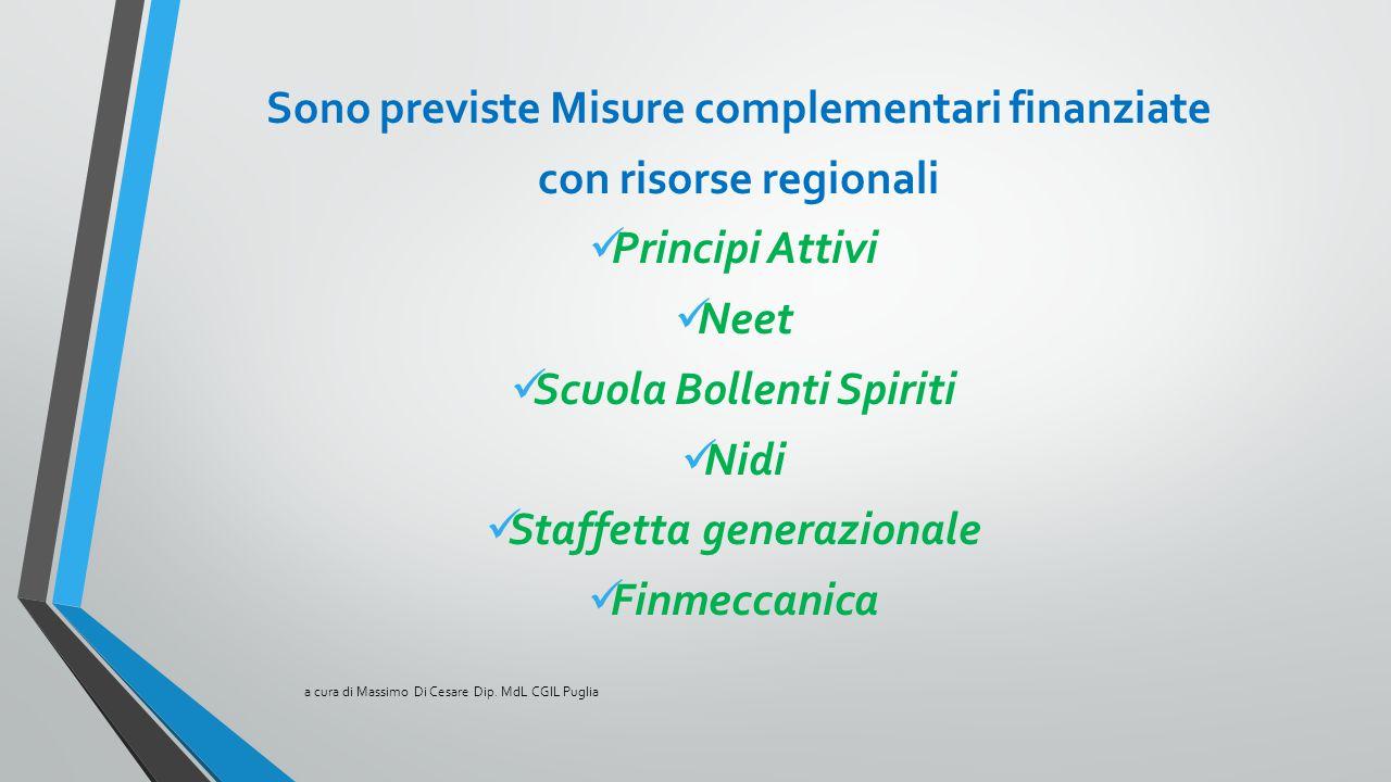 Sono previste Misure complementari finanziate con risorse regionali Principi Attivi Neet Scuola Bollenti Spiriti Nidi Staffetta generazionale Finmecca