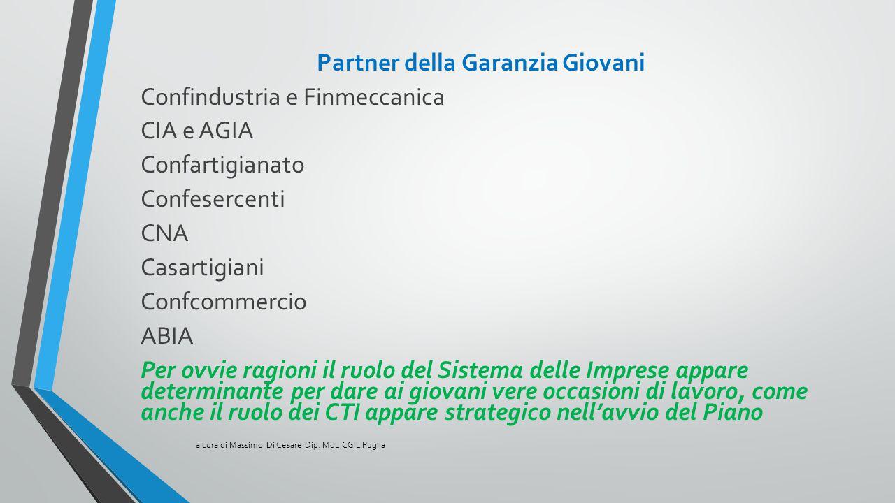 Partner della Garanzia Giovani Confindustria e Finmeccanica CIA e AGIA Confartigianato Confesercenti CNA Casartigiani Confcommercio ABIA Per ovvie rag