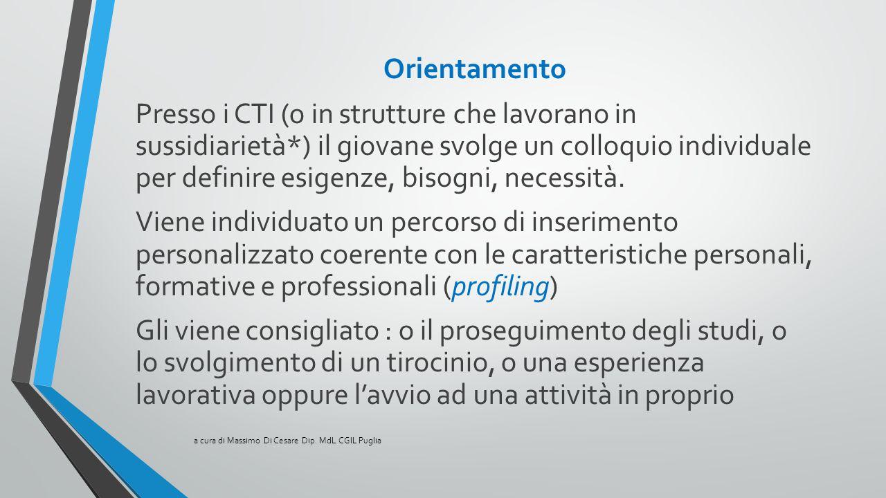 Orientamento Presso i CTI (o in strutture che lavorano in sussidiarietà*) il giovane svolge un colloquio individuale per definire esigenze, bisogni, n