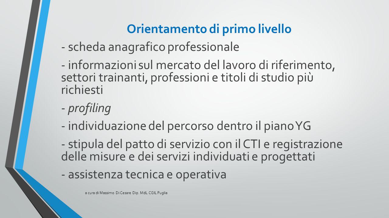 Orientamento di primo livello - scheda anagrafico professionale - informazioni sul mercato del lavoro di riferimento, settori trainanti, professioni e