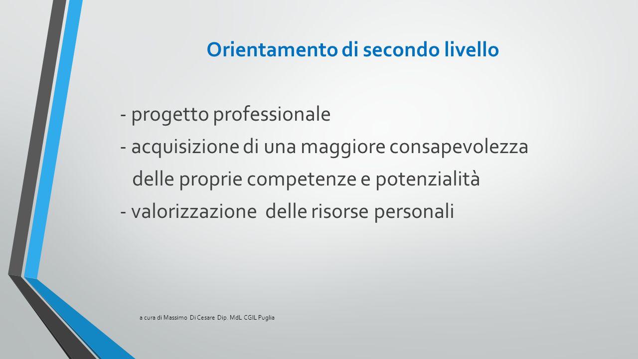 Orientamento di secondo livello - progetto professionale - acquisizione di una maggiore consapevolezza delle proprie competenze e potenzialità - valor
