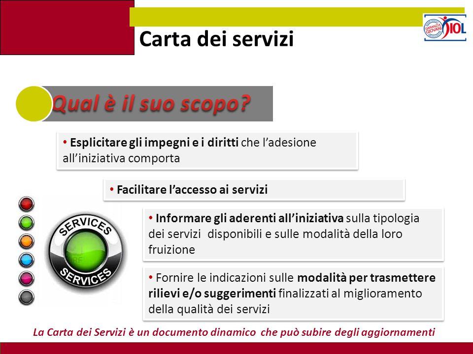 Carta dei servizi Informare gli aderenti all'iniziativa sulla tipologia dei servizi disponibili e sulle modalità della loro fruizione Esplicitare gli