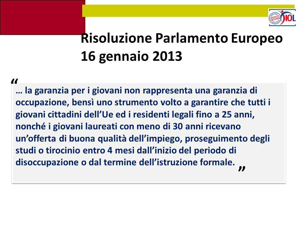 Risoluzione Parlamento Europeo 16 gennaio 2013 … la garanzia per i giovani non rappresenta una garanzia di occupazione, bensì uno strumento volto a ga