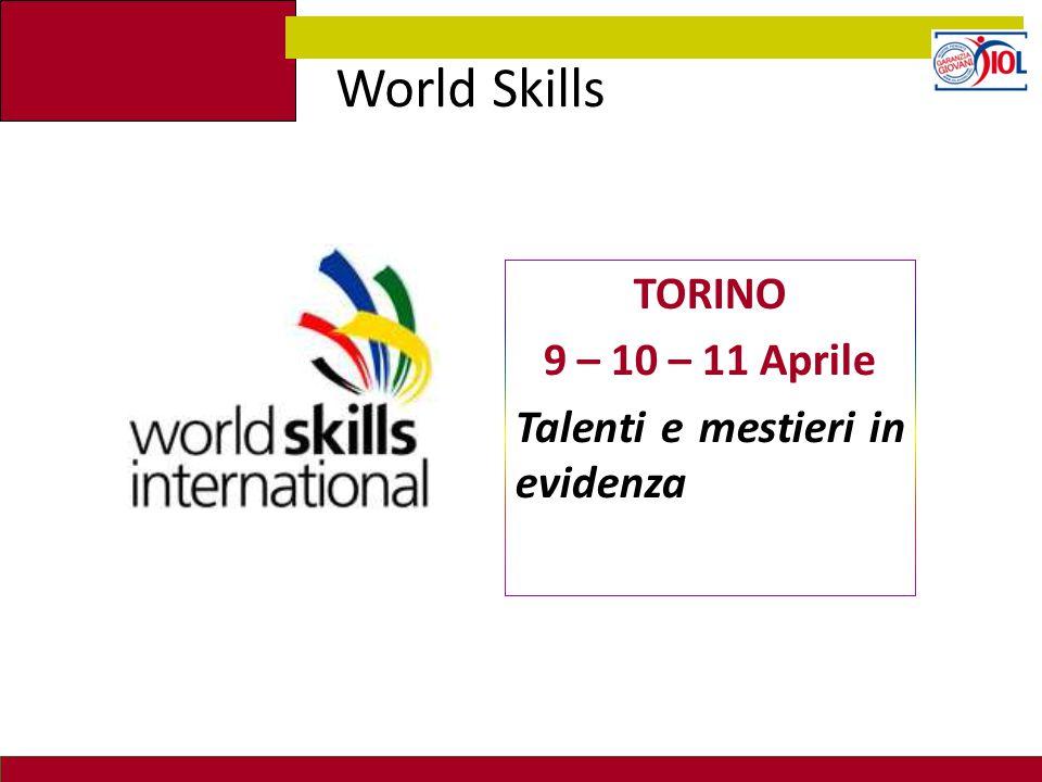 TORINO 9 – 10 – 11 Aprile Talenti e mestieri in evidenza World Skills