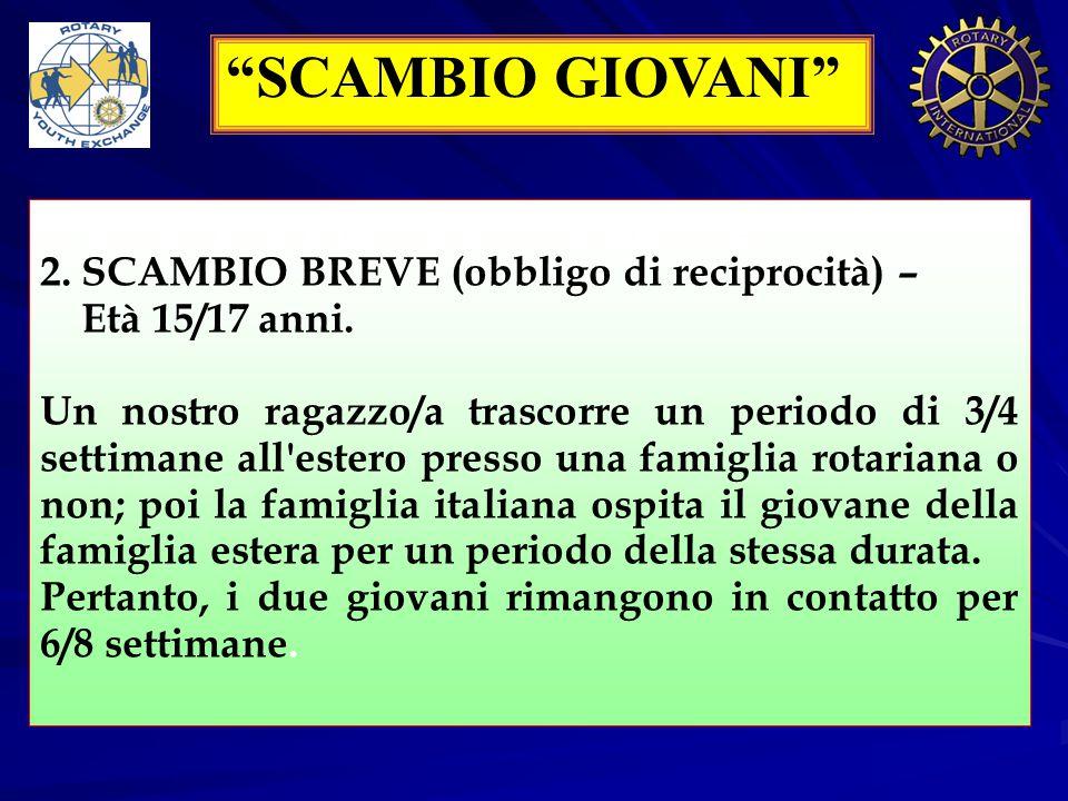 SCAMBIO GIOVANI 2) SCAMBIO BREVE O FAMILY TO 2.