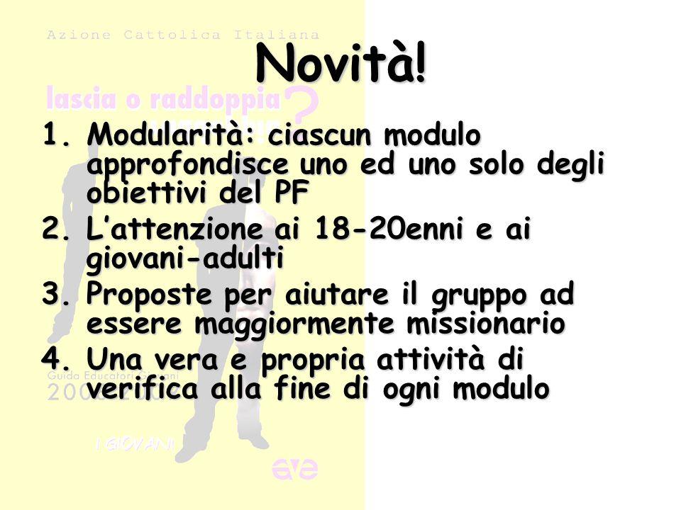 Novità! 1.Modularità: ciascun modulo approfondisce uno ed uno solo degli obiettivi del PF 2.L'attenzione ai 18-20enni e ai giovani-adulti 3.Proposte p