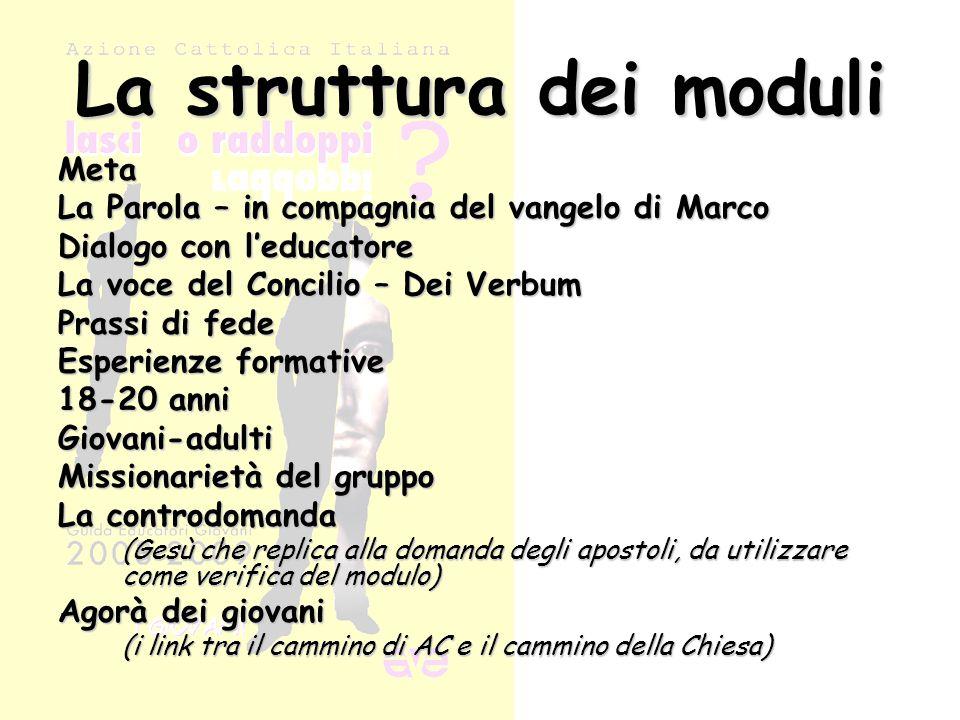 La struttura dei moduli Meta La Parola – in compagnia del vangelo di Marco Dialogo con l'educatore La voce del Concilio – Dei Verbum Prassi di fede Es
