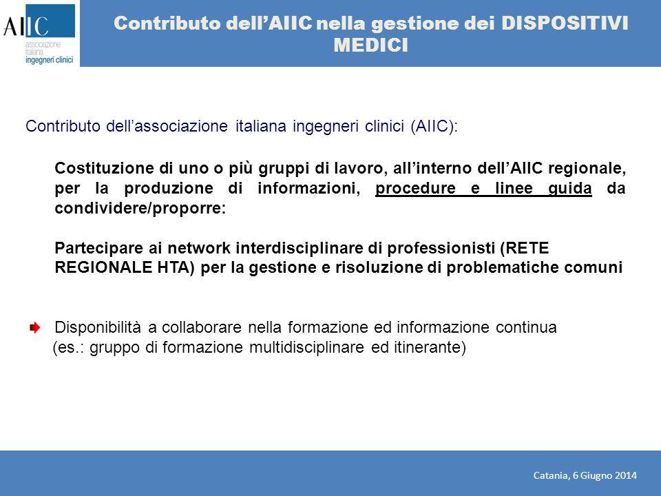 Contributo dell'AIIC nella gestione dei DISPOSITIVI MEDICI Costituzione di uno o più gruppi di lavoro, all'interno dell'AIIC regionale, per la produzi